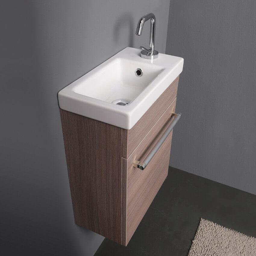 Lavandino Salvaspazio e Piccolo. Sanitari del bagno con Dimensioni Ridotte.
